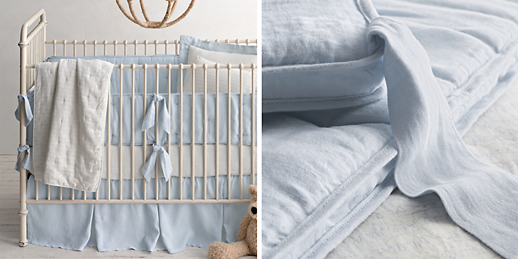 Washed Organic Linen Nursery Bedding Collection Free Shipping Available In 5 Colors Shown Cloud