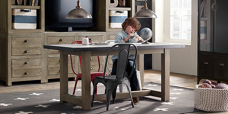 Concrete Play Table Vintage Steel Play Chair Collection RH Baby - Rh concrete table