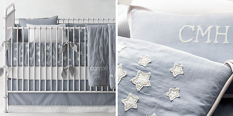 Little Star Liqué Nursery Bedding Collection Free Shipping Available In 3 Colors Shown French Blue