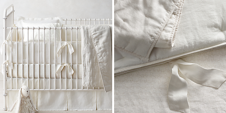 Washed Organic Linen Nursery Bedding Collection Available In 5 Colors Shown Ivory