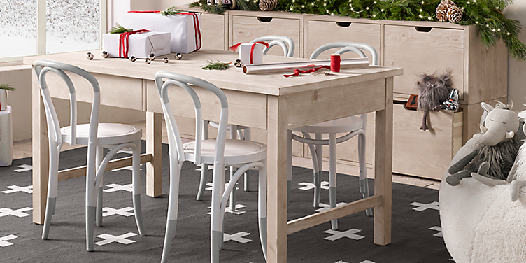 Cafe Tall Storage Play Table Paint Dipped French Chair Collection