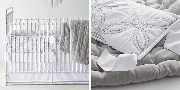 Embroidered Metallic Links Nursery Bedding Collection Free Shipping Available In 3 Colors Shown White