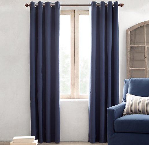 Cotton Canvas Black Eyelet Lined Curtain: Grommet Cotton Canvas Drapery Panel