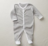 Stripe Footed One Piece - White