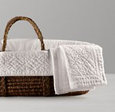 Heirloom Quilted Voile Moses Basket Bedding & Espresso Basket Set