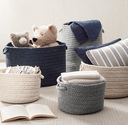Braided Wool Storage Grey