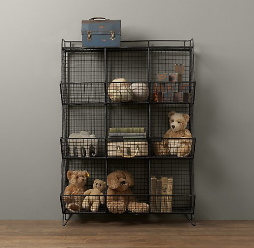 industrial wire 9 cubby storage zinc. Black Bedroom Furniture Sets. Home Design Ideas
