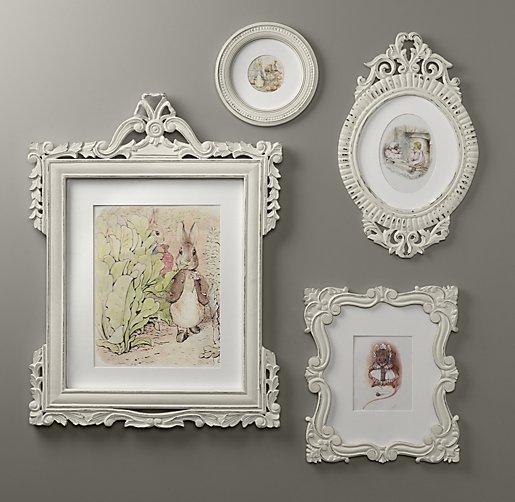 Vintage White Frame : Vintage Hand-Carved Frames