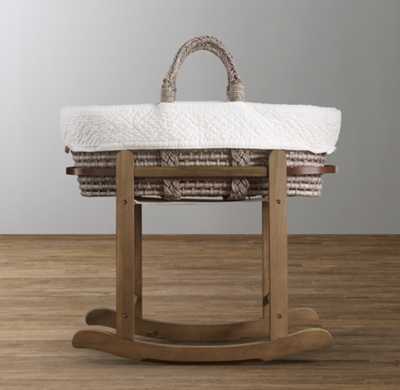 Moses Basket Stand Antique Oak
