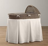 Heirloom Wicker Bassinet & Mattress - Weathered Grey
