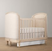 Belle Upholstered Crib - Distressed Linen