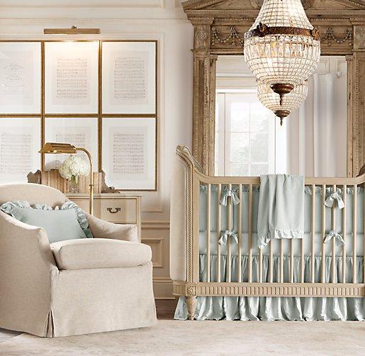 Belle Upholstered Crib Distressed Linen