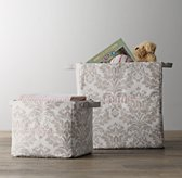 Printed Canvas Storage Bins - Dove Damask