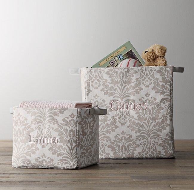 printed canvas storage bins dove damask