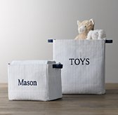 Printed Canvas Storage Bins - Ticking Stripe