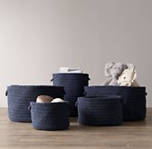Braided Wool Baskets - Navy