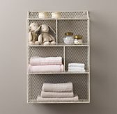 Vintage Wire Cubby Shelf - White