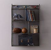 Vintage Wire Cubby Shelf - Zinc