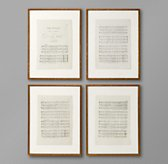 18th C. English Sheet Music Art (Set of 4)