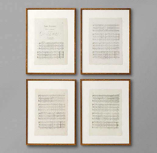 18th C English Sheet Music Art Set Of 4