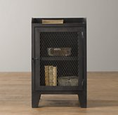 French Railroad Storage Nightstand - Iron Patina