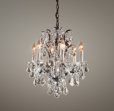 19th C Rococo Iron & Crystal Small Chandelier