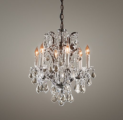 19th c rococo iron crystal small chandelier - Small bathroom chandelier crystal ...