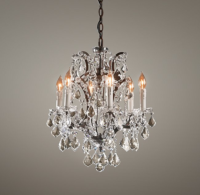 19th C Rococo Iron Crystal Small Chandelier