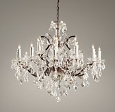 19th C. Rococo Iron & Crystal Large Chandelier