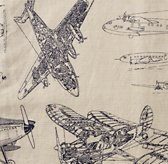 Vintage Airplane Blueprint Drapery Swatch