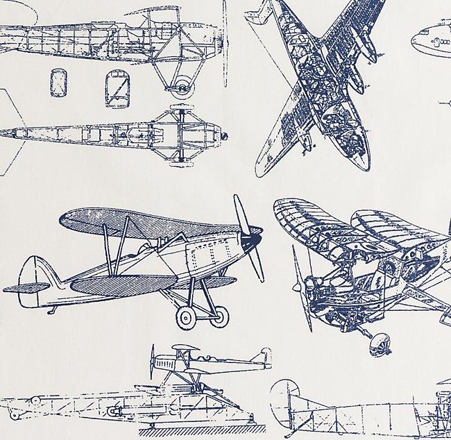 Vintage Airplane Blueprint Bedding Swatch