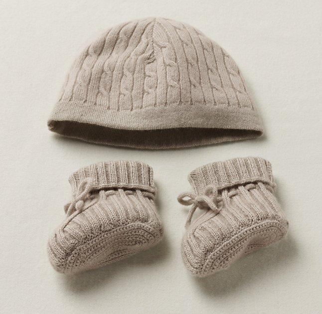 Cable Knit Cashmere Hat Bootie Set