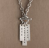 Personalized Sterling Silver Toggle Necklace