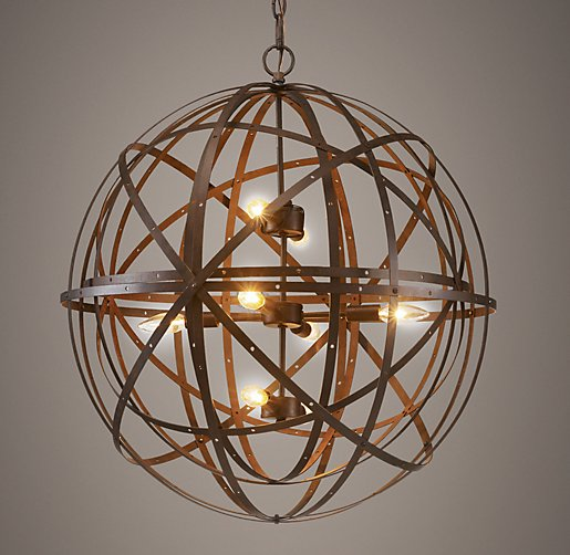 Restoration Hardware Light Fixture Sale: Orbital Sphere Large Pendant Rust