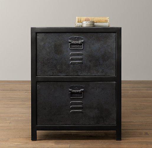 Vintage Locker 2 Drawer Nightstand