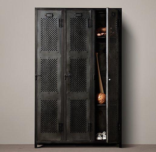 Vintage Locker 3 Door Perforated Cabinet
