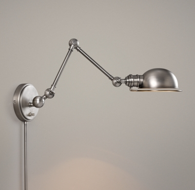Wall Mount Office Lamp : Academy Task Swing-Arm Sconce - Antique Brushed Nickel