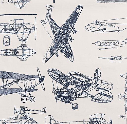 Vintage Airplane Blueprint Toddler Bedding Swatch