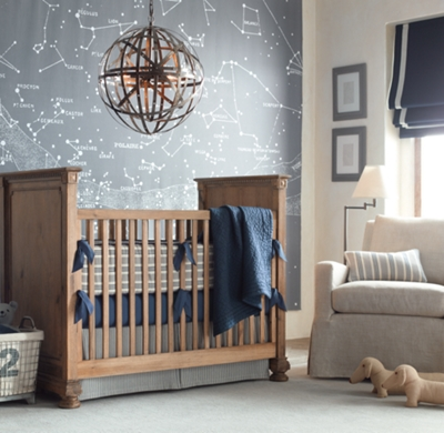 Vintage ticking stripe crib bumper - Vintage antique baby room ideas timeless charm appeal ...