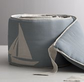 Appliquéd Linen Sailboat Crib Bumper