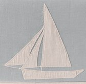 Appliquéd Linen Sailboat Bedding Swatch