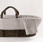Washed Organic Linen Moses Basket Bedding & Espresso Basket Set