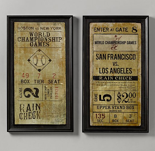Vintage Baseball Wall Decor : Vintage baseball ticket art