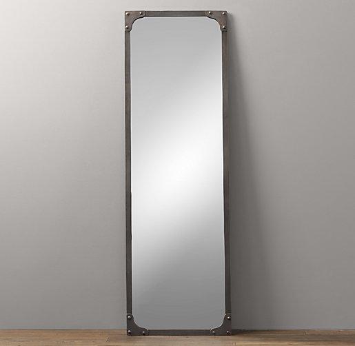 Industrial rivet leaner mirror for Black full length wall mirror