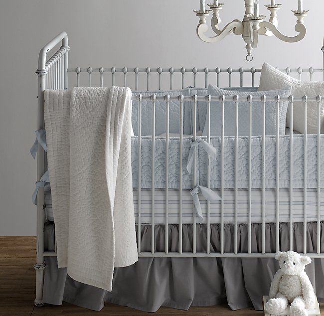 Heirloom Quilted Voile Stripe Nursery Bedding Collection