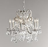 Manor Court Crystal 6-Arm Chandelier - Aged Pewter