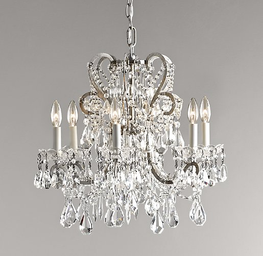 Manor court crystal 6 arm chandelier aged pewter aloadofball Image collections