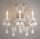 Manor Court Crystal 3-Arm Sconce - Aged Gold