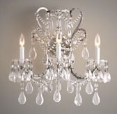 Manor Court Crystal 3-Arm Sconce - Aged Pewter