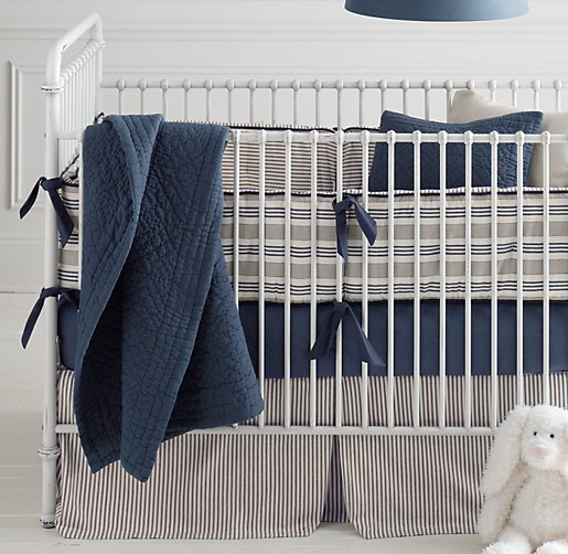 Featured With Vintage Washed Percale Crib Ed Sheet In Navy Heirloom Quilted Voile Toddler Quilt And Sham Ticking Stripe Skirt